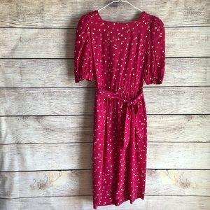 Vintage Liz Claiborne 100% Silk Pink Cream Dress